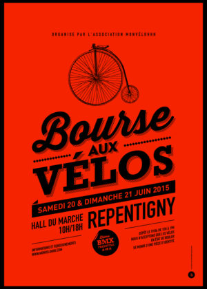 Affiche Brocante fluo rouge