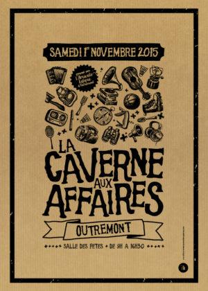 Affiche kraft - Caverne aux affaires